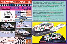 ANEXO DECAL 1/43 TOYOTA CELICA AURIOL & MIKKOLA 1000 LAKES 1993 3rd & 7th (01)