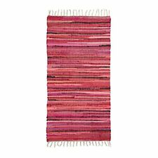 Relaxdays Tapis À franges Tissé Main Coloré Rouge Style Indien 70 x 140 cm Co...