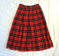 Vintage Pendleton Wallace Tartan Plaid 100% Wool Skirt Box Pleat Sz 6 Red Black