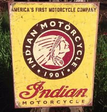 INDIAN MOTORCYCLE COMPANY 1901 Collectible Tin Metal Sign Wall Garage Classic