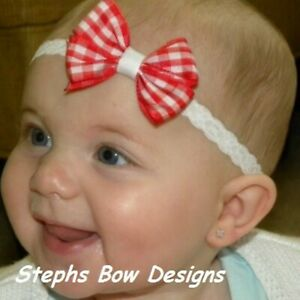 Red White Gingham Dainty Hair Bow Headband FITS Preemie Newborn Toddler