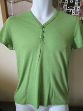 Topman-verde tre bottoni sul davanti a maniche corte t-shirt Taglia Xsmall
