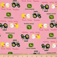 """John Deere Nursery Duck Tractor Pink 100% cotton Fabric Remnant 26"""""""