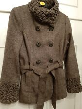 Beautiful Brown & Cream Belted Jacket Size 12 SOON 40% WOOL