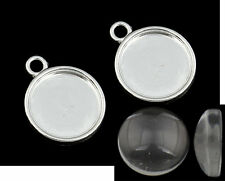 20 Round Cabochon Earring / Charm Pendant Silver &   GLASS  12mm inner 20 pieces
