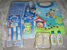 Blue Baby Blanket Booties Bib Pacifier Holders Nasal Aspirator Shampoo NEW!