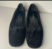 Prada Black Flats Size 38.5 Suede Leather
