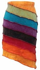 Women Rainbow Striped Washed Out Asymettrical Short Hippy Boho Festival  Skirt