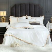 Luxury European Silky Bedding Sets Gold Edge Embroidery Duvet Cover Bed Sheet