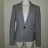 H&M Gray Blazer Jacket Career Women's Size 10 One-Button White Lined
