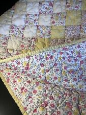 Toddler / Baby Reversible Quilt: Pottery Barn Kids; Floral; Yellow, Pink, Purple