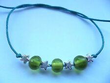 Karmastring tie on bracelet anklet silver colour stars & Green glass beads beach