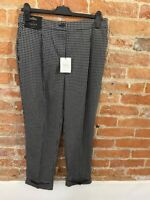 NEXT WOMENS BLACK CHECKED TAPER TROUSERS SIZE: 12R  BNWT RRP £28