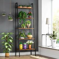Retro 5 Tier Ladder Shelf Bookcase Plant Flower CD DVD Display Unit Stand Rack