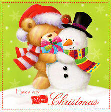 10 Pack 145mm square Christmas xmas Cards Cute Bear Snowman Glittered 2 designs
