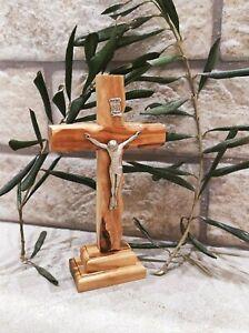 olive wood Crucifix Cross Stand Holy Land Jerusalem Gift Blessed Catholic Jesus