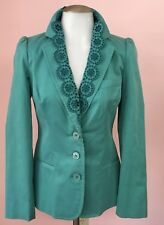 New LOVE MOSCHINO 2 4 XS Teal Blue Embroidery Cotton Jacket Womens Blazer NWT