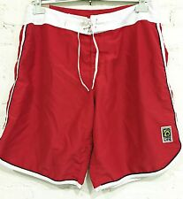 "Osklen Boardshorts Size BR46 US XXL Red & White Trim 36-38 inch waist 20"" Length"