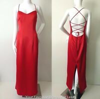EVENTS Satin Dress Red Sleeveless Maxi Made In Australia  NEW  Size 10 US 6