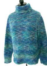 PANDEMONIUM Women S Turquoise/Blue Acrylic/Wool Chunky Knit Turtleneck Sweater