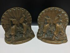 ANTIQUE SOLID BRONZE BOOKENDS PAIR ASIAN KOREAN COUPLE KISSING 5.6 LBS