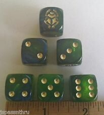 16mm BEETLE DICE -KOPLOW DESIGN ON 6 GORGEOUS GREEN/BLUE DICE! OH, MY!