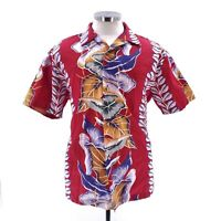 Kalaheo Mens Sz Large/XL Red Short Sleeve Floral Hawaiian Button Up Shirt