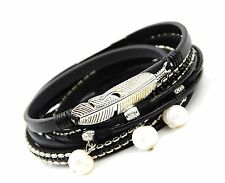 Three Real Pearl Feather Shape Multi Wrap Black Leather Bracelet UK