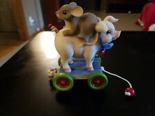 """Charming Tails """"Pig Pull Toy"""" 98/455 Gold Signature Series Limited Edition"""