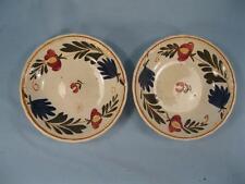 2 Red Yellow Flowers Dessert Sauce Bowls Societe Ceramique Maestricht (O) AS IS