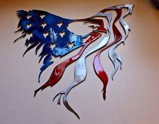 "Eagle and Flag Metal Wall Art 15 1/2"" x 15"" Red White & Blue"
