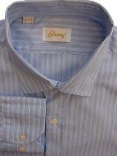 BRIONI camicia da uomo 16 M BLU-Doppio Strisce Bianche