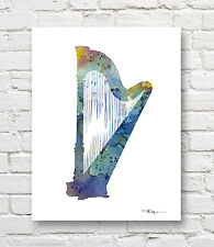 CLARINET Abstract Contemporary Music Watercolor ART 11 x 14 Print by DJR
