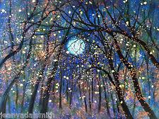Giclee canvas PRINT - Copper  moon & Fireflies -16 x 20 x 7/8