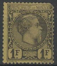 "MONACO STAMP TIMBRE 9 "" PRINCE CHARLES III 1F NOIR S.JAUNE "" NEUF (x) SIGNE M673"