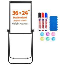 Whiteboard Double Side U Stand Magnetic Dry Erase 360 Rotate Flipchart 36x24