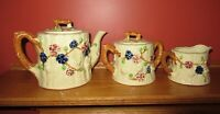 Vtg Hand Painted Woodland Style Teapot & Lid, Creamer, Sugar Bowl & Lid Japan