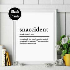 Snaccident Wall Print Definition noun Typography Kitchen Wall Art Home Decor