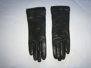 womens LL bean black leather gloves 100% cashmere lined M