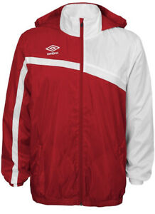Umbro waterproof Jacket sz Large hood soccer rugby retro style 1990s white Red