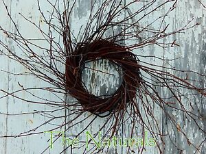 """8"""" Primitive Birch Twig Wreath Large Candle Ring Door Organic Rustic Country"""