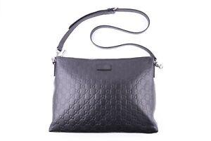 Gucci Unisex Leather Cross-body Messenger Shoulder Bag Signature Soft Black