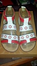 Ugg Girls Toddlers Size 9 T Sabel White Red Open Toe T Strap Leather Sandals-NEW