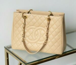 VERIFIED Authentic CHANEL Beige Quilted Caviar Leather GST Tote Bag