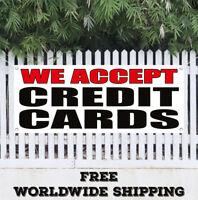 Banner Vinyl WE ACCEPT CREDIT CARDS Advertising Sign Flag Visa Mastercard Debit