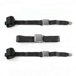 Ford Fairlane 1970 Airplane 2pt Black Retractable Bench Seat Belt Kit - 3 Belts