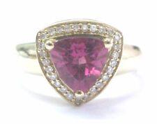 Fine Trillion Pink Tourmaline Diamond Jewelry Ring Yellow Gold 14KT 2.14Ct