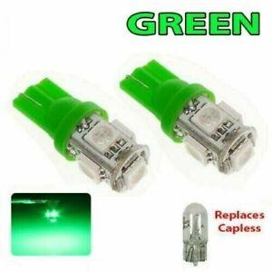 2 x T10 501 GREEN  LED 5050 W5W 5 SMD Car Van Side Interior Wedge Light Bulb 12v