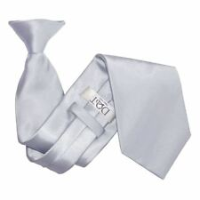 DQT Satin Plain Solid Silver Waiter Security Funeral Clip on Tie