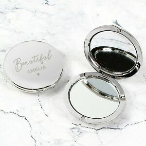 Personalised Round Compact Mirror Birthday Mothers Day Valentine's Gift for Her